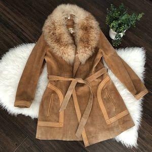 Vintage Penny Lane Leather Faux Fur Coat size 14